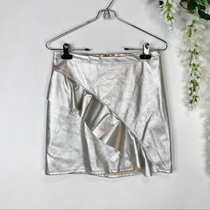 MOSSIMO metallic silver mini skirt ruffled